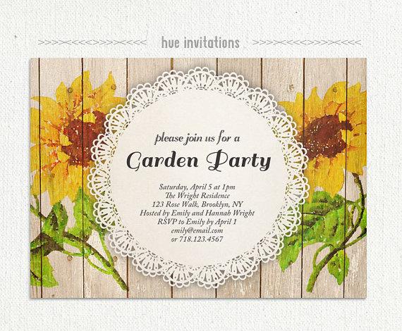sunflower garden party invitation watercolor sunflower rustic
