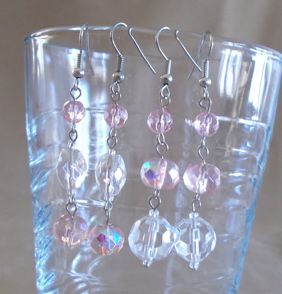 Wedding - Pink & Iridescent Clear Long Dangle Earrings, Handmade, Fashion Jewelry, Unique Style, Sophisticated, Elegant, Feminine Colors, Sparkle, Fun