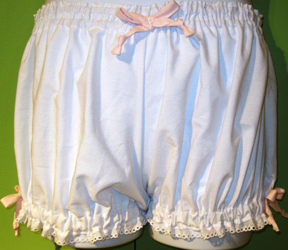 Hochzeit - Size Medium-large Womens White Cotton Bloomers, pajama bottoms trimmed in Pink Ribbons and White Eyelet