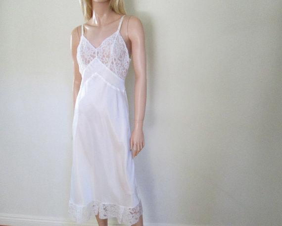 Wedding - Vintage 1950s White Lace Slip Lingerie