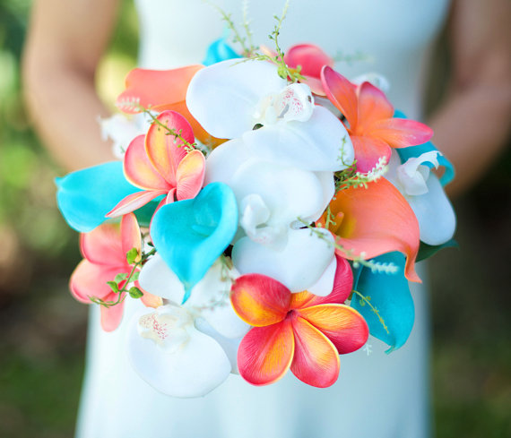 Wedding - Wedding Coral Orange and Turquoise Teal Natural Touch Orchids, Callas and Plumerias Silk Flower Bride Bouquet
