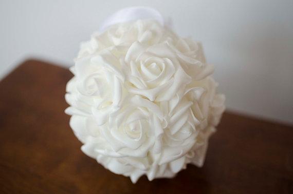 """زفاف - 6"""" white rose ball, flower girl bouquet, flower girl ball, flower girl kissing ball, white bouquet, white flower girl bouquet"""