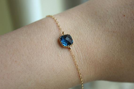 Hochzeit - Dainty Sapphire Navy Blue Bracelet Square Gold Plated Bracelet - Navy Blue Bridesmaid Bracelet - Bridal Bracelet Sapphire Wedding Jewelry