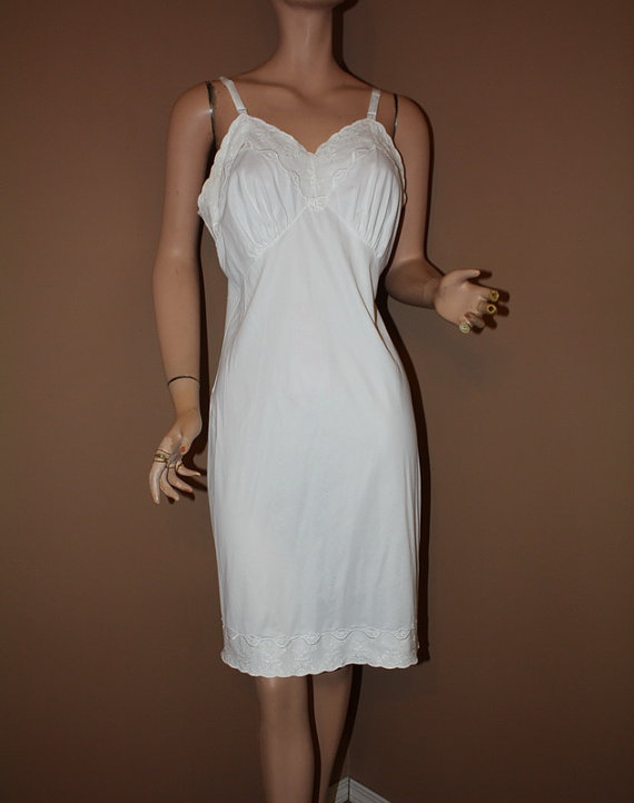 Wedding - Vintage Full Slip White with Embroidered Chiffon Size 38