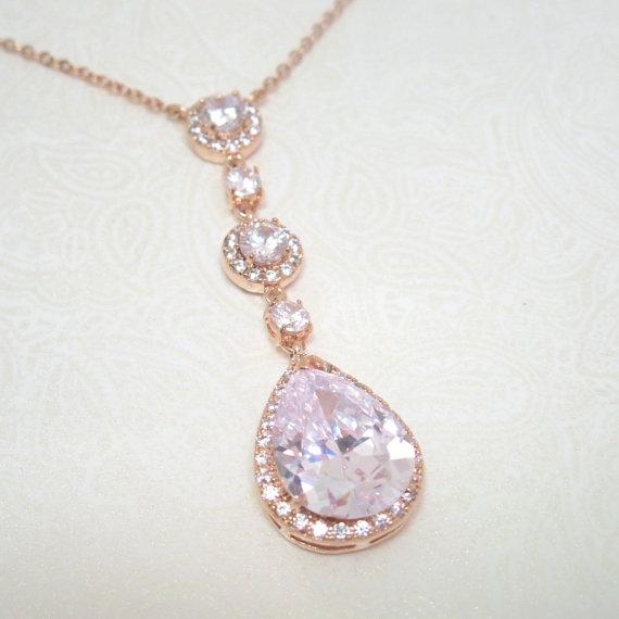 زفاف - Rose gold Wedding necklace, Crystal Bridal necklace, Wedding jewelry, Pendant necklace, Rose gold Bridesmaid necklace, Teardrop necklace