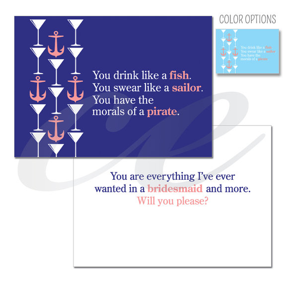 زفاف - Funny Will You Be My Bridesmaid Card - Maid of Honor Card - Matron of Honor Card - Sailor