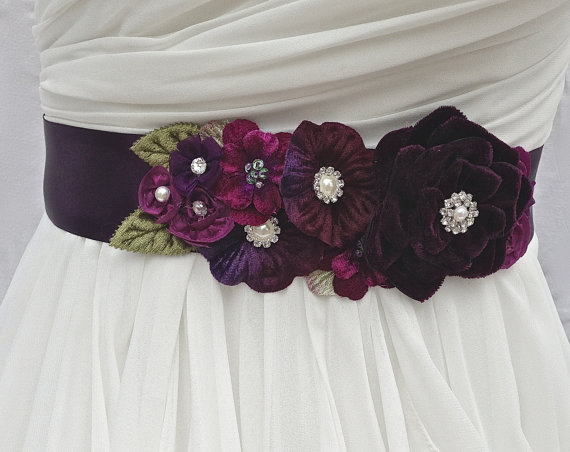 Wedding - Bridal Sash,Wedding Sash in Purple, Plum And Violet with Crystals and Pearls, Rhinestones, Bridal Belt