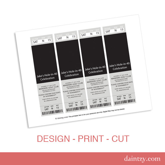 Event Ticket Photo Invitation Template Printable DIY Make Your Own