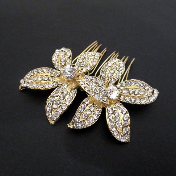 Hochzeit - Flower Bridal Rhinestone Comb, Comb, Bridal Comb Crystal, Wedding Crystal Hair Comb, Hair Comb, Wedding Accessory, Bridal Headpiece