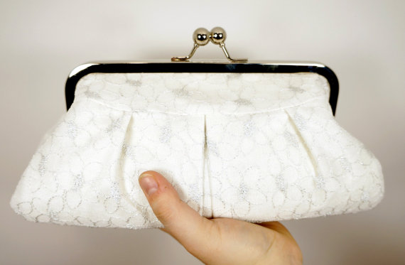 Свадьба - White clutch, lace clutch, silk clutch with silver lace overlay, wedding clutch, bridal purse