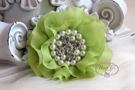 Свадьба - New: Reilly Collection, 2 pcs CELERY GREEN Soft Chiffon Ruffled Rhinestones Pearls Fabric Flowers - Layered Bouquet fabric flowers, Wedding
