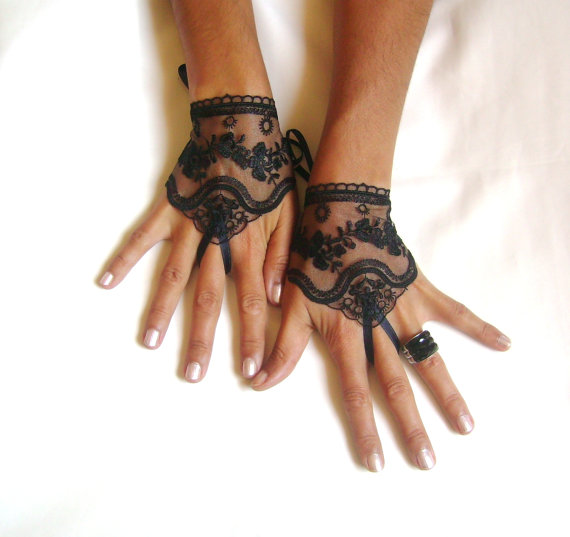 Black tulle lace glove embroidery bridal wedding for Lace glove tattoo
