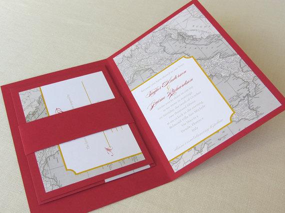 Wedding - Italy Map Wedding Invitation Booklet - Vintage Map - Florence Tuscany Destination Sample