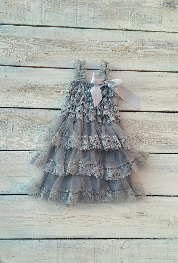 Mariage - Lace flower girl dress, rustic flower girl dress, vintage baby dress, beach flower girl dress, light grey dress, charcoal grey dress