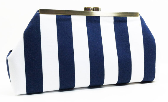 Wedding - Navy Clutch Purse - Navy White Stripe Clutch Bag Purse Nautical Beach Wedding Bridesmaid Clutch