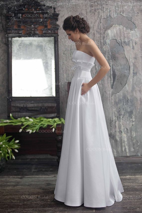 "Wedding - Wedding Dress From Mikado And Unique Corse Chic And Elegant Aristocratic Gown With Pockets - ""Vesta"""