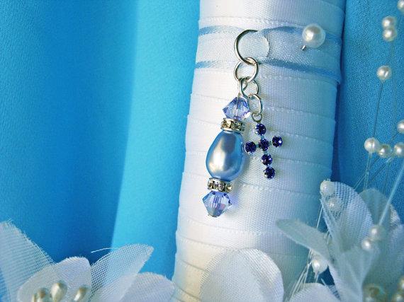 Свадьба - Something Blue Wedding Bouquet Charm Swarovski Crystals Pearls Sapphire Cross
