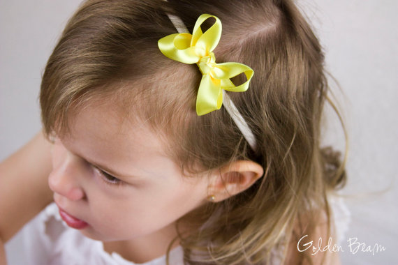 Hochzeit - Baby girl Bows - Yellow and Ivory Boutique Bow Handmade Headband - Baby to Adult - Lemon Zest Yellow