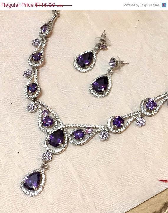 Bridal Jewelry Set, Wedding Jewelry Set, Vintage Inspired Purple ...