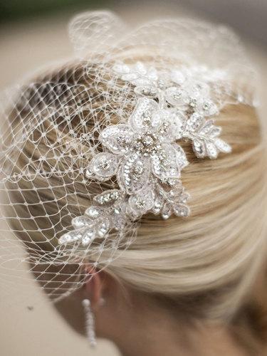 Hochzeit - French Netting Blusher Birdcage Veil, Vintage Style Crystal Birdcage Veil, Vintage Side Veil Applique Birdcage Veil - 'ZOIE'