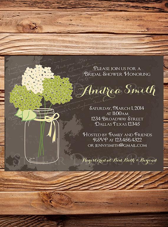 Свадьба - Hydrangea Mason Jar Bridal Shower Invitation,Purple, Pink, Green, Mason Jar Invitation,Brown, Mason, Hydrangea, Wedding Shower - Item 1043