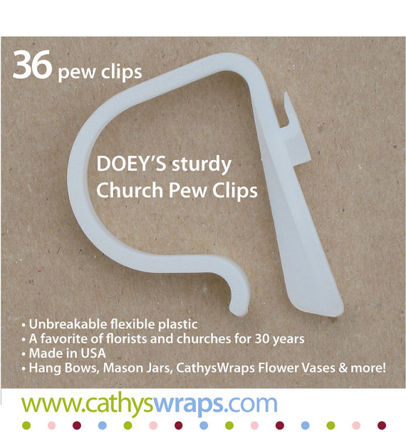 Wedding - Wedding ceremony pew decorations - Doeys Church Pew Clips hang Mason jars, paper flowers, pom poms, pew bows, vases, aisle markers Set of 36