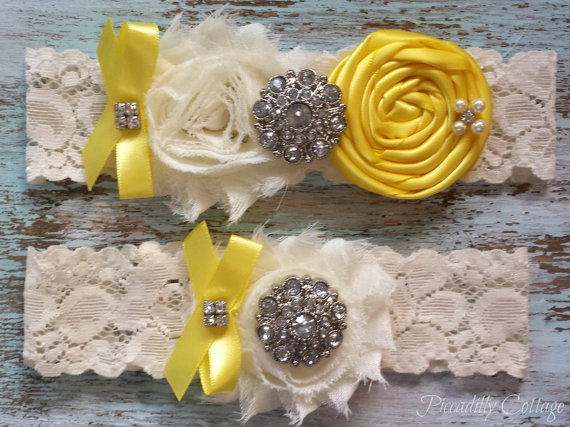 زفاف - Lemon Yellow Wedding Garter Set, Bridal Garter, CUSTOMIZE IT, Ivory Garter, Wedding Garter, Garter Belt