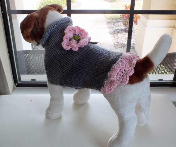 """Wedding - Dog Sweater Hand Knit June Wedding  Small 12.5"""" inches long"""