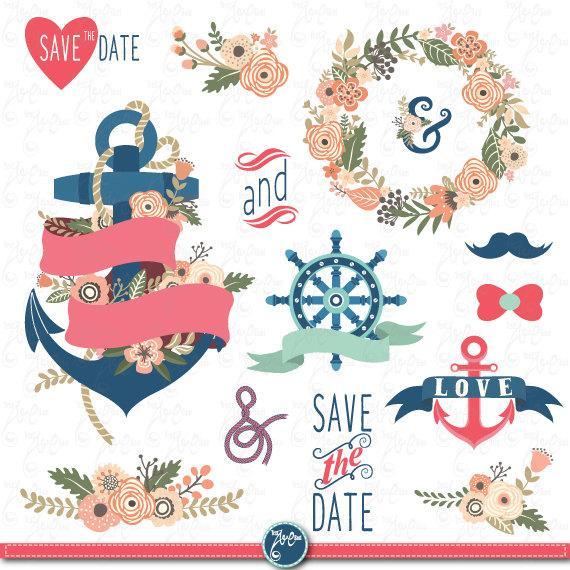 "Wedding - Wedding Clipart pack ""WEDDING FLORA NAUTICAL"" clip art,Vintage Flowers,Floral Frames, Anchor,Wreath,Wedding, Save the date, invitation Wd086"