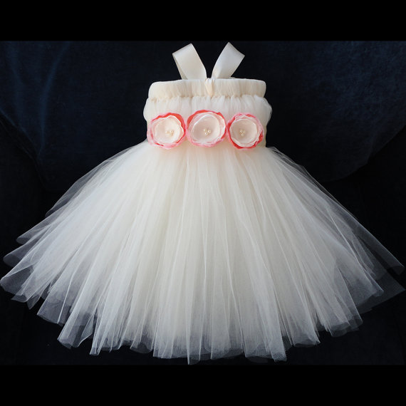 Wedding - Ivory and Coral Flower Girl Dress