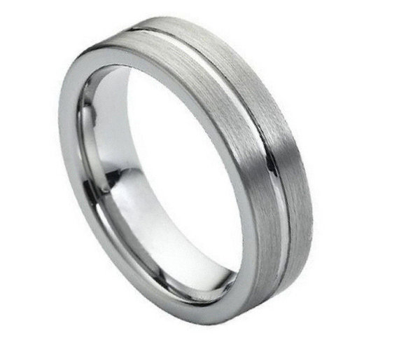 6MM Tungsten Wedding Band Comfort Fit Flat Shiny Center Groove With Brushed Sides Promise Engagement Ring For Men Women SNUJDTZQC