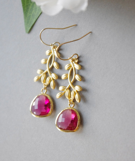 Hot Pink Earrings For Wedding Gold Framed Gl Stone Jewelry Fuchsia July Birthstone Mother S Day Gifts