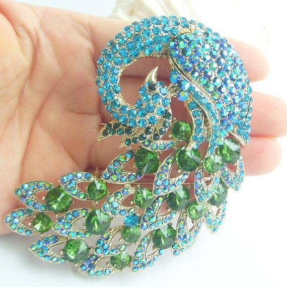 Mariage - Art Deco Peacock Brooch Turquoise Green Rhinestone Crystal Brooch Crystal Sash Scarf Brooch Pin Brooch Bouquet Women Accessories BP06021C6