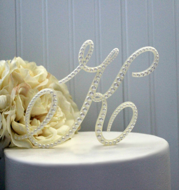Pearl Monogram Wedding Cake Topper Decorated With Pearls In