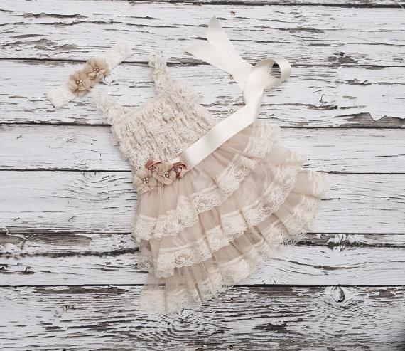 Mariage - Flower girl dress. Champagne Flower girl dress. Lace flowergirl dress. Country wedding. Petti lace dress. Ruffle dress.