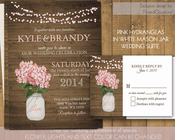 Rustic Mason Jar Wedding Invitations Pink Hydrangeas In Mason Jar