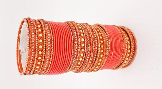 Hochzeit - 10% OFF 48 Orange Gold Silver Diamante Indian Bangles Indian Churi Bollywood Glitter Mirror work Bridal Wedding Party Indian Churis Bracel