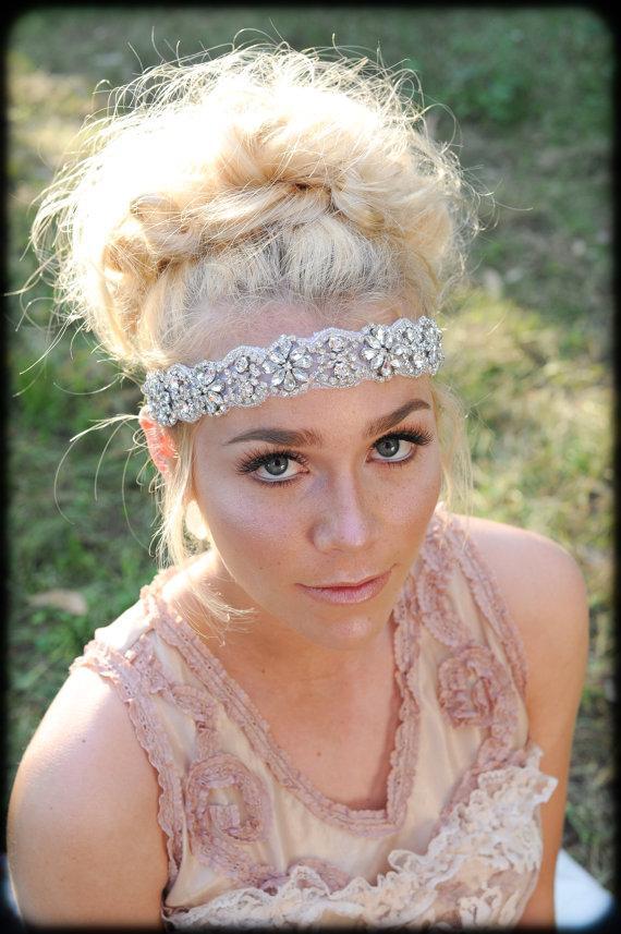 Mariage - Crystal Headband ,Bridal Headband, Vintage Headband, Beaded Headband, Crystal Headband, Bridal Headpiece, Headpiece, Wedding Hair
