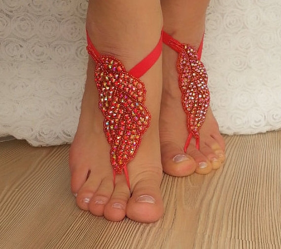 Mariage - Red Rhinestone anklet, FREE SHIP Beach wedding barefoot sandals, Steampunk, Beach Pool, Sexy, Yoga, Anklet , Bellydance