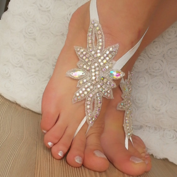 Mariage - Multicolor Reflective Rhinestone anklet, FREE SHIP Beach wedding barefoot sandals, Steampunk, Beach Pool, Sexy, Yoga, Anklet , Bellydance