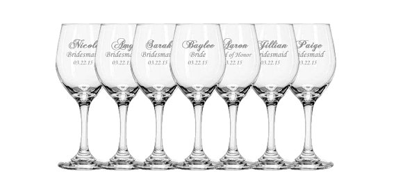 9 Personalized Wine Gles Bridesmaid Gift For Bridesmaids Etched Custom Wedding