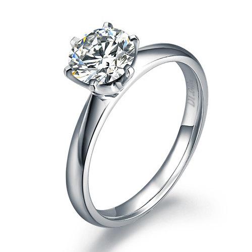 زفاف - Tiffany Engagement Ring Solitaire Diamond Ring 6 Prongs  14k White Gold