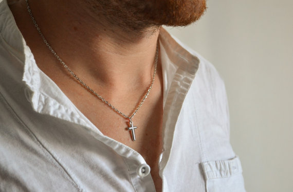 Свадьба - Cross necklace for men, groomsmen gift, men's necklace with a silver cross pendant, silver chain, gift for him, christian catholic necklace