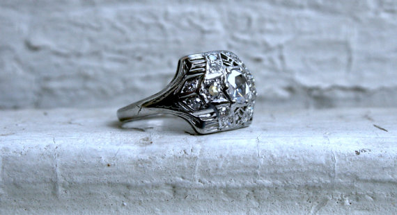 زفاف - Vintage Platinum Rose Cut Diamond Engagement Ring.
