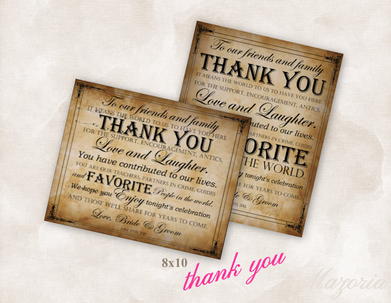 Wedding - 8 X 10 Wedding thank you sign YOU PRINT!! vintage paper Instant Download Just add your info and print!