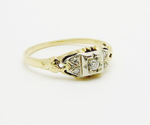 زفاف - Vintage Art Deco Diamond Wedding Ring, 14k White & Yellow Gold Diamond Wedding Ring, Engagement Ring, Promise Ring, Anniversary Ring