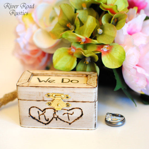 Wedding - Rustic Wedding Ring Box Keepsake or Ring Bearer Box- Personalized Comes WIth Burlap Pillow. Ships Quickly.