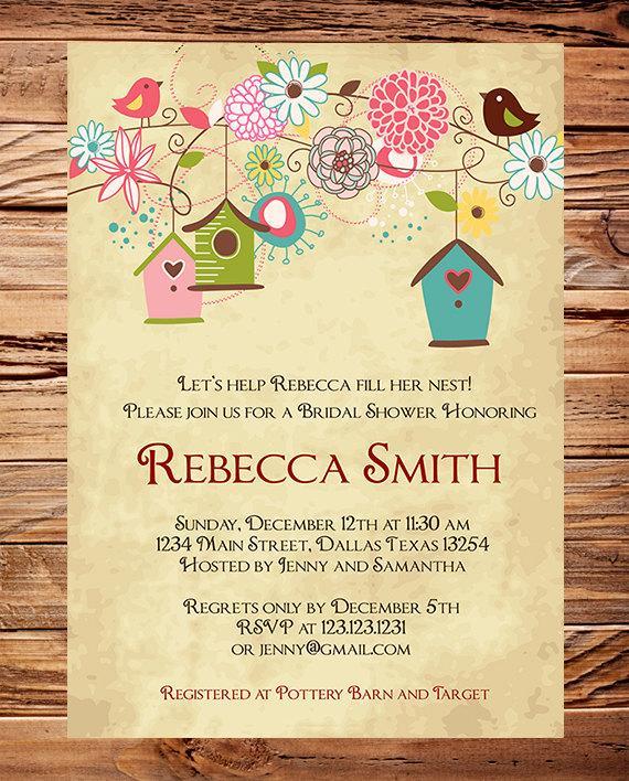 زفاف - Little Bird Bridal Invitation,Bridal Shower Invitation,Vintage, Birdhouses, Birds, Pink, White, Red, Wedding Shower - Item 1211