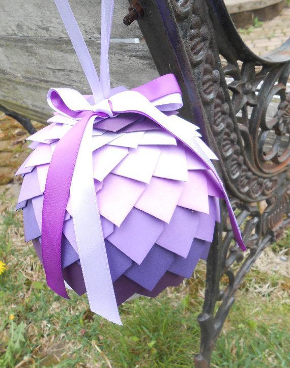 Wedding - Large Kissing Ball. Aisle, Chair Decoration. CHOOSE YOUR COLORS. Wedding, Flower Girl. Purple, Lavender, Lilac, Iris, Plum