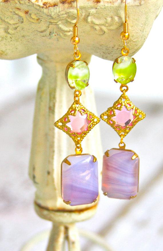 Mariage - Purple Opal Moonstone Pink Rhinestone Gold Vintage Lime Green Givre Glass Drop Dangle Earrings- BridesmaidWedding, Bridal,Statement Earrings